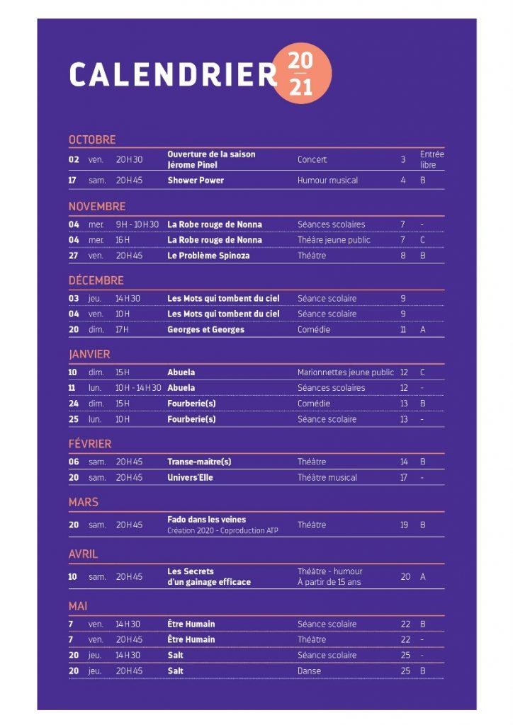 Calendrier saison 2020 2021 – Espaces Culturels – ATP Villefranche